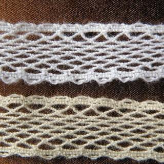 Dentelle très fine filet coton 15mm, 1,5cm