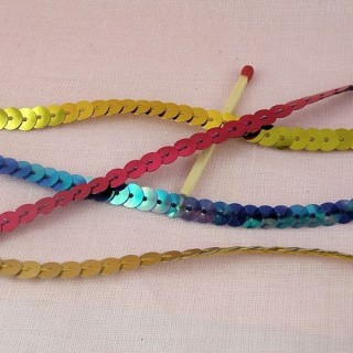 Flat single strand sequin ribbon 7 mms