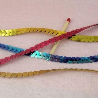 Flat single strand sequin ribbon 7 mms