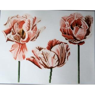 Kit broderie point compté,coeurs de tulipes, fleurs,  DMC