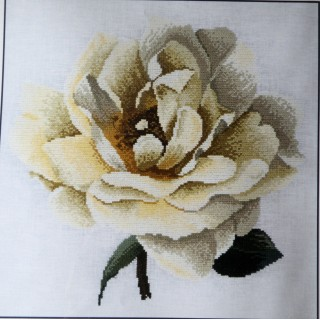Kit point comptés toile lin rose jaune DMC