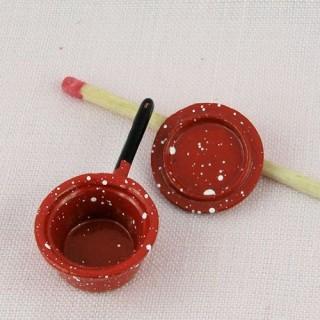 Miniature enamelled metal cookware, pot 1,7 cms diameter.