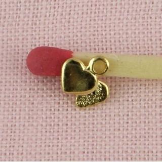 Coeur mini double, pendentif fin, 6mm, 0,6 cm.