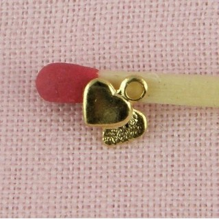 Tiny heart pendant charm 6 mm.