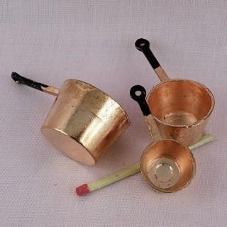 Set von 3 Pfannen in Kupfer Miniaturen Puppenhaus,