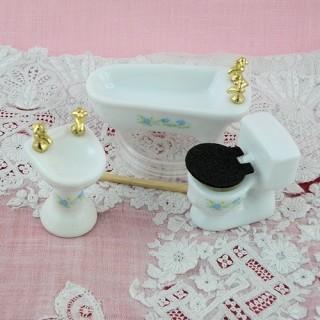 Instalaciones sanitarias porcelana miniatura casa muñeca.