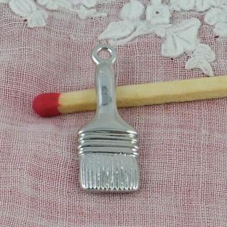 Pinceau métal, outils miniatures, breloque, 2,3 cm.