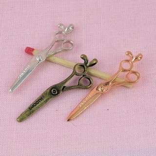 Miniature brass Scissors, charms 3 cms
