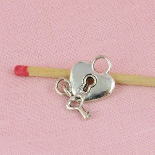 Heart padlock miniature bracelet charm 1,7 cm