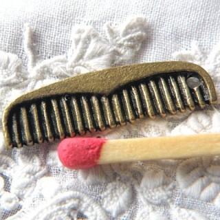 Metal tiny Comb miniature dollhouse, charms pendant 1,9cm, 19mm