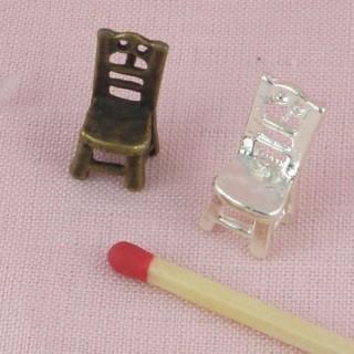 Chaise pendentif, breloque, miniature vitrine poupée, 1,7 cm