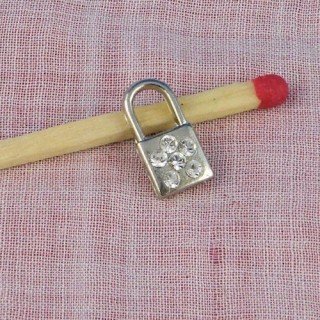 Padlock miniature, pendant, bracelet charm, doll, 2 cms