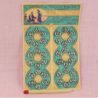Carte 6 x 6 boutons pression métal à coudre, 6mm.
