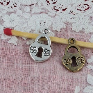 Padlock miniature, pendant, bracelet charm, doll, 1,2 cms