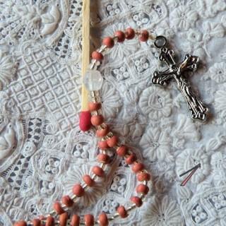 Chapelet, bijou poupée communiante, religieuse.