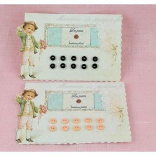 Carte rétro découpée minis boutons plats brillants.