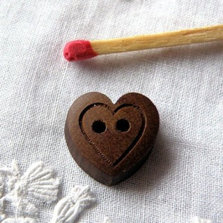 Wooden Button heart carved  dark wood