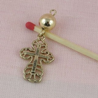 small cross charm for doll 24 mm