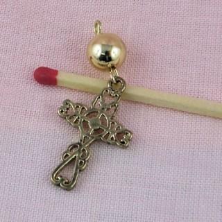 Pendentif croix, chapelet, bijou poupée communiante, religieuse.