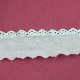 Dentelle broderie anglaise coton pointes 2 cm.