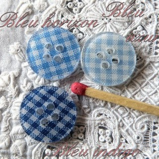Flat gingham button 1,6 cm.