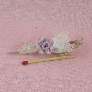 Sombrilla miniatura 1/12 muñeca 6 cm