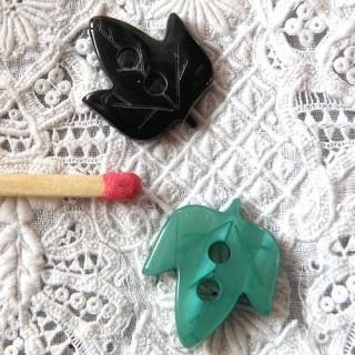 Zwei-Loch Blatt-Knopf 2 cm.