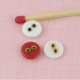 Plastic Button 8 mms edged metallic holes