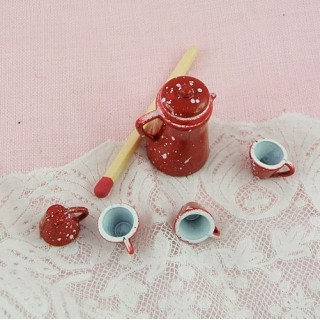 Miniature Small coffee set in enamelled metal