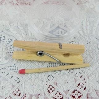 Pince à linge mini bois, 2,5cm.
