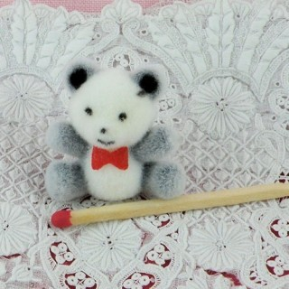 Flocked bear two colors miniature 26 mms, 26 mm