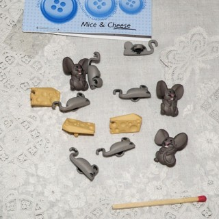 Bouton fantaisie souris rat fromage Dress it up gusgus