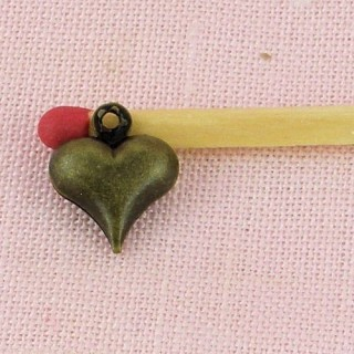 Breloque cœur bombé poupée 1 cm