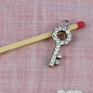 Clef pendentif, breloque,  bijou miniature poupée, 1,8 cm