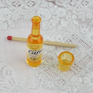 Tiny glass and bottle,miniature for dollhouse, 4 cms.