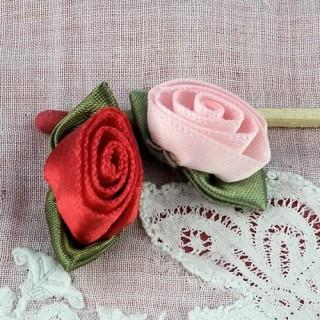 Stoffrosen Rose in Band mit Blumenblättern 25 mm