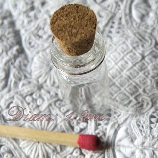 Miniature glass bottle,jar with cork and ring