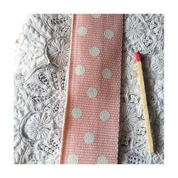 Belting grosgrain with dots, bag handles  2,5cm, 25mms.