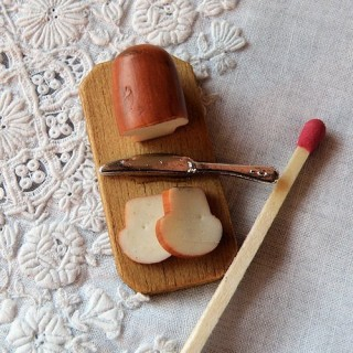 Tablero pan rebanadas miniatura casa muñeca