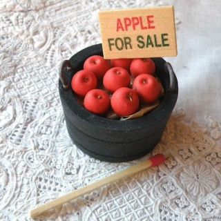 Wood  bucket of apples for sale miniature, market, fruits, doll grocer's shop,