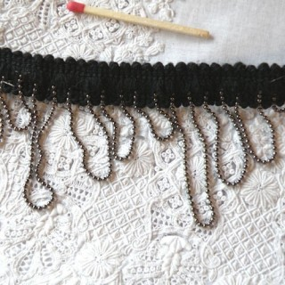 Loop fringe metal bead trim, decoration, 1,5 cms,