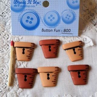 Flower pots, Dress it up buttons, gardening