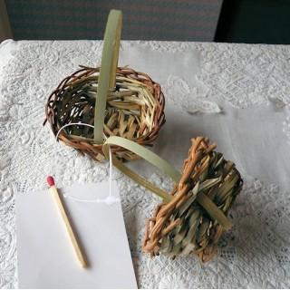 Set of two Straw basket miniature doll decoration two sizes