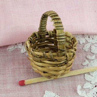 Bamboo round basket miniature , doll, decoration,25 mm 1""