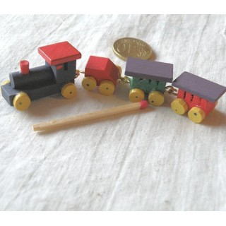 Small miniature toy wood painted train, 9 cm.