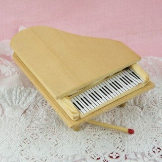 Wooden piano miniature, doll house living room