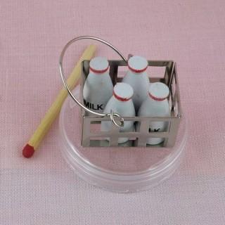 Casillero botellas de leche miniatura casa muñeca,
