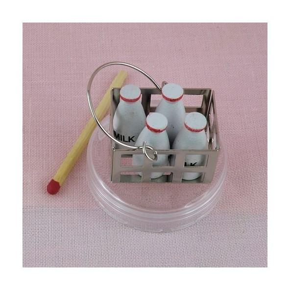 Casier bouteilles de lait miniature maison poupée,