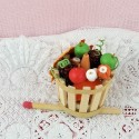Fall basket with fruits and Vegetable miniatures for doll, 4 cm.