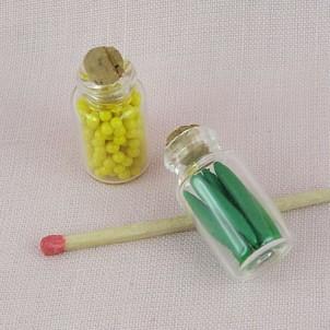 Bocaux légumes verre miniature maison poupée, 25 mm.